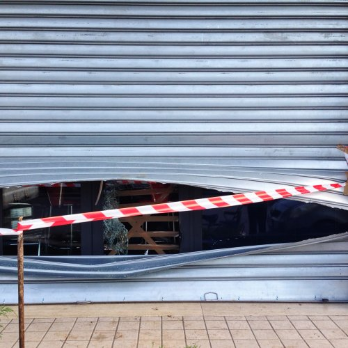 Damaged roller shutters in London